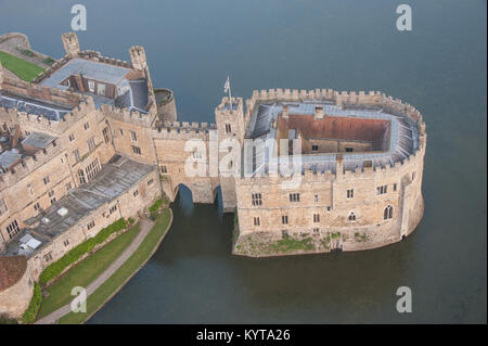 Leeds Castle, near Maidstone, Kent, UK is viewed from a hot air ballon very early in the morning