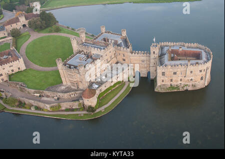 Leeds Castle, near Maidstone, Kent, UK is viewed from a hot air ballon very early in the morning - Stock Photo