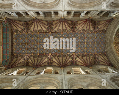 Peterborough Cathedral. fourteenth century painted wooden ceiling of the quire and presbytery, looking up. Blue - Stock Photo