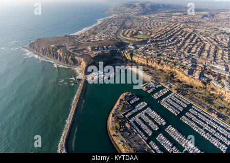 Aerial view of Dana Point park and marina in Orange County, California - Stock Photo