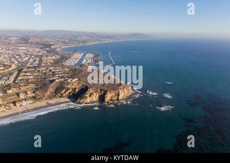 Aerial view Dana Point in Orange County on the Southern California coast. - Stock Photo