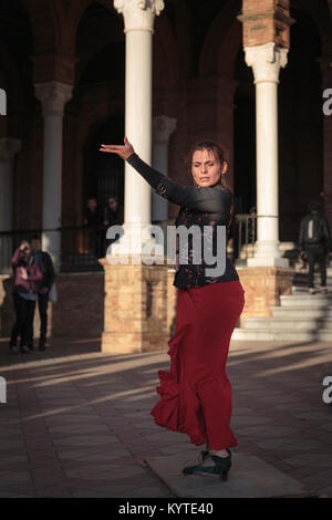 Flamenco Dancer, Plaza de España, Seville, Andalusia, Spain. - Stock Photo