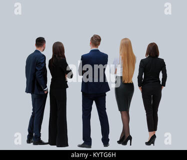 business people from the back - looking at something over a white background. - Stock Photo