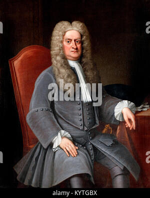 Sir Isaac Newton (1642-1727), portrait of the English physicist and mathematician, c.1715-20 - Stock Photo