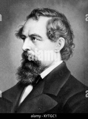 Portrait of the 19th century English writer, Charles Dickens (1812-1870) - Stock Photo