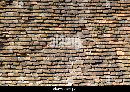 Old red roof tile background pattern - Stock Photo