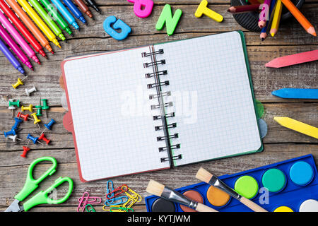 School supplies or accessories on an old wooden table