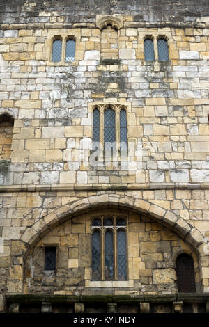 Detail of Monk Bar, one of the gateways in the historic city walls at York, UK - Stock Photo