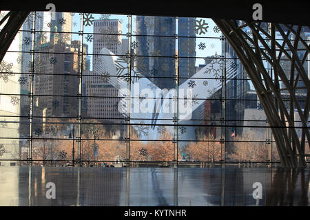 View of the Oculus building from inside Brookfield Place, New York City - Stock Photo