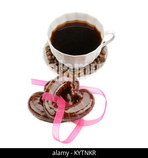 coffee and cookies isolated on white background - Stock Photo