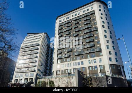 Modern apartment blocks in Park Street, Birmingham City Centre - Stock Photo