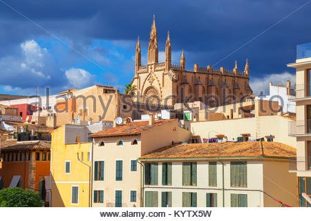 View of historic district, Palma de Mallorca, Mallorca, Balearic Islands, Spain, Europe - Stock Photo