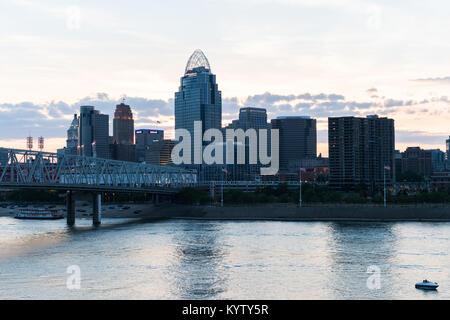 Sunset over Cincinnati Ohio Skyline - Stock Photo