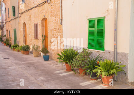 Alcudia old town streets, Alcudia, Mallorca, Balearic Islands, Spain, Europe - Stock Photo