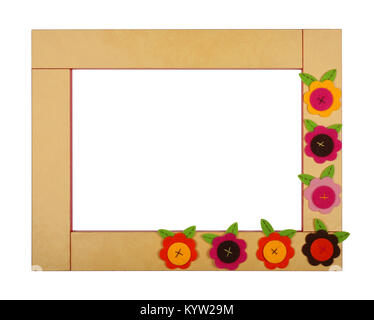 Yellow art children frame with velvet flowers on a white background. Isolated - Stock Photo