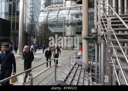 LONDON, UK - APRIL 22, 2016: People visit Lloyd's Building in the City of London, UK. London is the most populous - Stock Photo