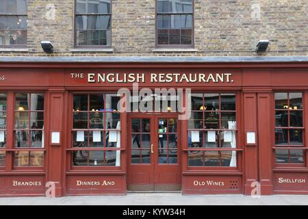 LONDON, UK - APRIL 22, 2016: The English Restaurant in Spitalfields, London, UK. According to Tripadvisor there - Stock Photo