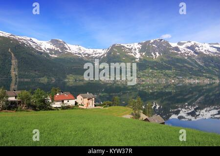 Norway fiord landscape - part of Hardanger Fjord called Sorfjord. Morning view. - Stock Photo