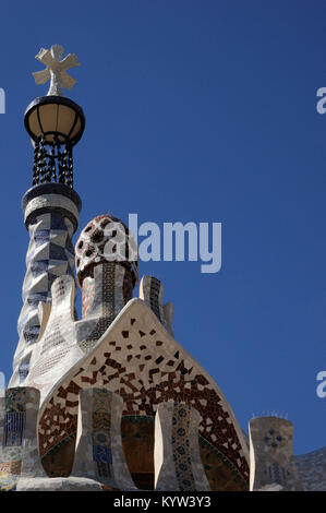 top of building;parc guell;barcelona;mosaics - Stock Photo