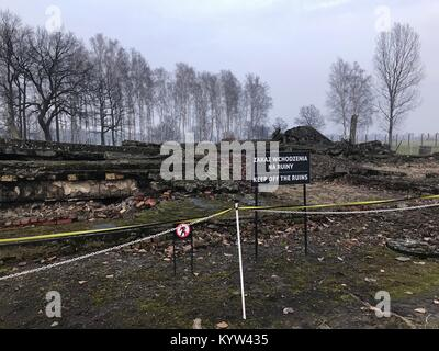Remains of Gas chamber in Auschwitz Birkenau concentration camp, Poland - Stock Photo