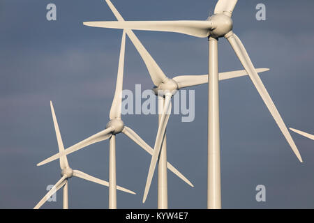 Wind energy plant, wind farm in East Frisia, Lower Saxony, Northern Germany, - Stock Photo