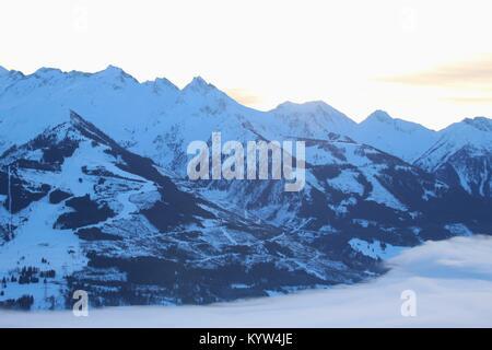 View of the Hohe Tauern mountain range with mountain Kitzsteinhorn (3200 m) in the region Zell am See - Kaprun, - Stock Photo