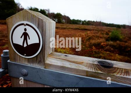 An 'Open Access' sign located at the boundary of 'Access Land', where the public has a right to roam. - Stock Photo