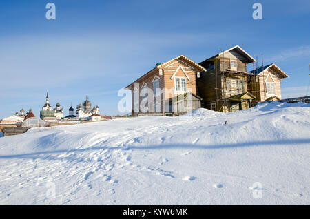 The building of the Biological Station on the cape at the Solovetsky Monastery. Russia, Arkhangelsk region - Stock Photo