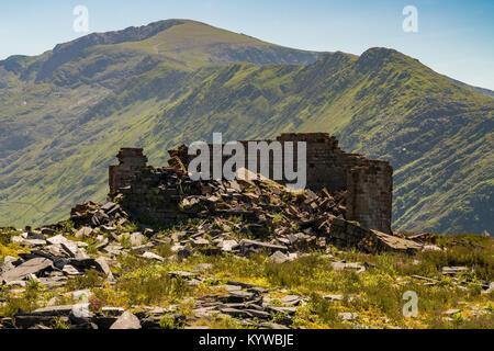 Derelict house at Dinorwic Quarry near Llanberis, Gwynedd, Wales, UK - Stock Photo