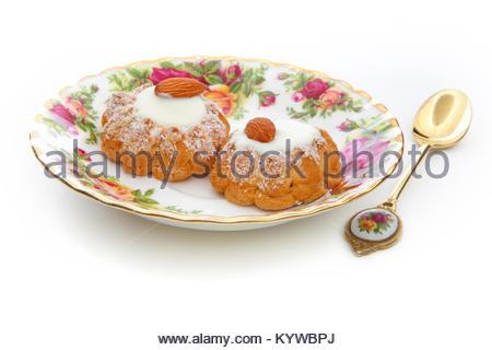 Almond Cookies Studio quality White Background - Stock Photo