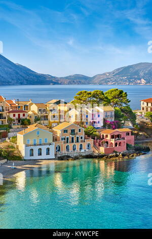 Colorful houses in the Assos village, Kefalonia Island, Greece - Stock Photo