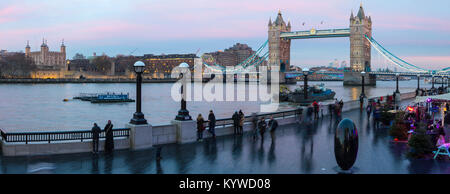 LONDON, UK - DECEMBER 18TH 2017: A panoramic view along the River Thames in London, taking in the sights of the - Stock Photo