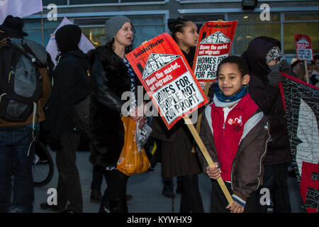 London, UK. 16th Jan, 2018. Protesters marched to a planning meeting of Southwark Council to demonstrate against - Stock Photo