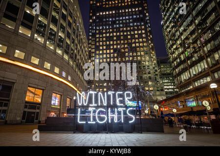 London, UK. 16th Jan, 2018. Winter Lights interactive art installations at Canary Wharf Credit: Guy Corbishley/Alamy - Stock Photo