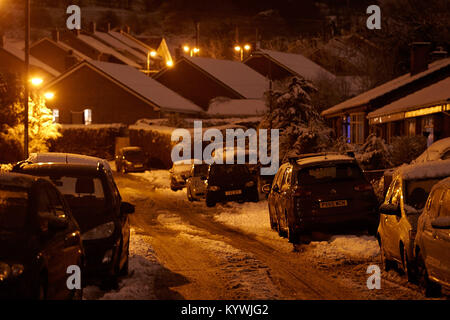 Newtownabbey, Northern, Ireland. 16th Jan, 2018. Residents park in the street as a result of amber weather warning - Stock Photo