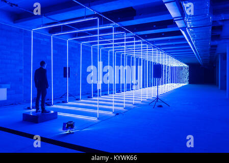 London, UK. 16th Jan, 2018. Showcasing artists from around the world, with an emphasis on cutting edge technology, - Stock Photo