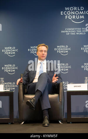 Geneva, Switzerland. 16th Jan, 2018. Borge Brende, the president of the World Economic Forum (WEF), gestures at - Stock Photo