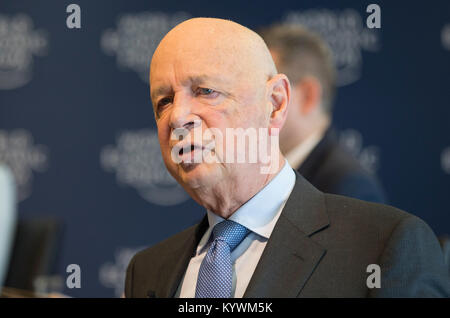 Geneva, Switzerland. 16th Jan, 2018. Founder and Chief Executive of the World Economic Forum (WEF) Klaus Schwab - Stock Photo