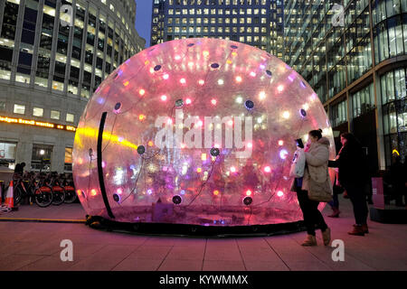 London, UK. 16th Jan, 2018. Several artworks on display at Canary Wharf as part of this year's celebration of light - Stock Photo