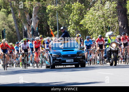 Adelaide, Australia. 17th January, 2017.  The peloton about to start stage 2 of the Tour Down Under cycling race - Stock Photo