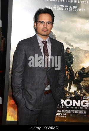 January 16, 2018 - New York City, New York, U.S. - Actor MICHAEL PENA attends the world premiere of '12 Strong' - Stock Photo