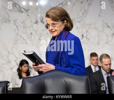 Washington, USA. 16th Jan, 2018. Senator Dianne Feinstein(D-CA) arrives for a hearing of the Senate Judiciary Committee - Stock Photo