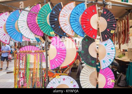 Fans on sale in Major Square street market, Palma de Mallorca, Mallorca, Balearic Islands, Spain, Europe - Stock Photo