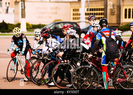 Gomel, Belarus - April 10, 2016: Bicyclists at the opening of cycling season in spring - Stock Photo