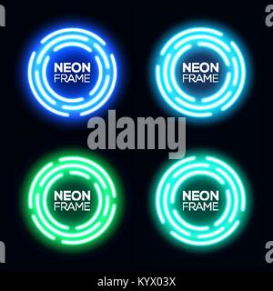 Neon light circles set. Shining round techno frames collection. Night club electric 3d banners on dark backdrop. - Stock Photo
