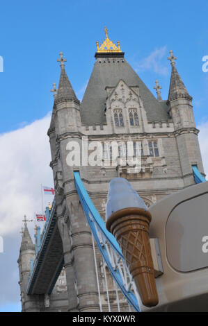 tower bridge over the river thames in central London with a plastic model ice cream on a van in the foreground. - Stock Photo