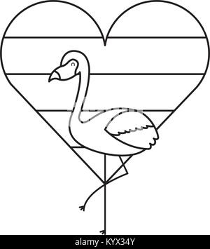 flamingo bird and striped heart love - Stock Photo