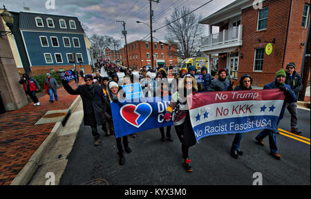 UNITED STATES - 01152018: Citizens march from Loudoun County Court House in downtown Leesburg to Douglass Community - Stock Photo