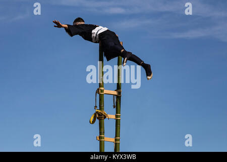 Dezome-shiki Edo Firefighter Stunts - Dezome-shiki is an annual event that takes place early January each year, - Stock Photo