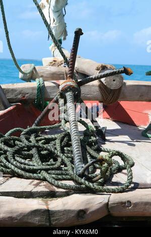 Fishing boat off the coast of No name island, Zanzibar, Tanzania. - Stock Photo